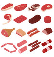 meat sign 3d icon set isometric view vector image