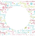 merry christmas text circle frame seamless pattern vector image
