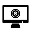 monitor bitcoin solid icon vector image vector image