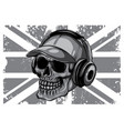 monochromatic skull and flag great britain vector image vector image