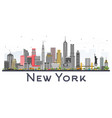 new york usa skyline with gray skyscrapers vector image vector image