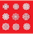 set beautiful patterned laser cut snowflakes vector image
