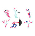set female characters gaining sports activity vector image vector image