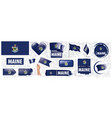 set flags american state maine vector image