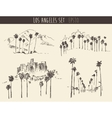 Set Los Angeles California Skyline Engraved Sketch vector image vector image