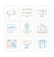set of business or marketing icons and concepts vector image vector image