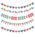 set of isolated vintage garlands on Valentines Day vector image