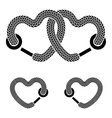 shoelace linked hearts black white symbols vector image vector image
