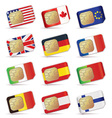 sim cards with flags vector image vector image