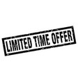 square grunge black limited time offer stamp vector image vector image