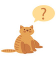 thinking cat with questions mark above against vector image
