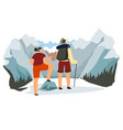 traveling man and woman standing on mountains top vector image