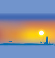 tropical seascape with lighthouse palms and ship vector image vector image
