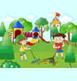 two boys sweeping leaves in park vector image vector image
