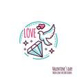 valentines day icon stamp sticker logo vector image