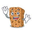waving granola bar character cartoon vector image vector image