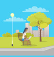 woman with laptop sits on bench in city park vector image vector image