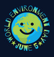 world environment day poster greeting text vector image vector image