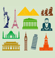 world landmarks silhouettes elements set vector image