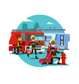 colorful firefighting template vector image