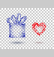 gift box and heart on a transparent background vector image