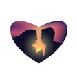 romantic couple sunset isolated heart vector image