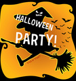 Halloween theme with witch on broom vector image