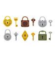 set of vintage keys and locks vector image