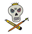 angry skull with knife and brush vector image