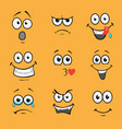 cartoon comic faces various expressions vector image vector image