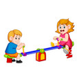 children play see saw with pleasure vector image vector image