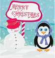 Christmas card with a penguin and snowman vector image