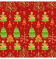 Christmas pattern with Xmas trees and snowflakes vector image vector image