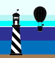 Create lighthouse and balloon scenery vector image