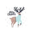 cute deer hand drawn flat color vector image vector image