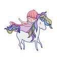cute sweet unicorn with girl sleeping vector image vector image
