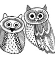 Decorative Hand drawn Cute Owl Sketch Doodle black vector image vector image
