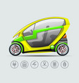 electric car with options icons vector image