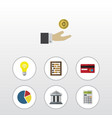 flat icon incoming set of bank counter calculate vector image vector image