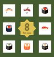 flat icon salmon set of sashimi seafood gourmet vector image vector image