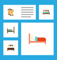 flat set of bed crib hostel and other vector image vector image