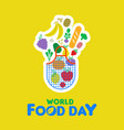 food day card of fruit and vegetable icons vector image
