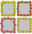four flower frames on white background vector image vector image