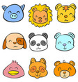 funny style animal head of doodles vector image vector image