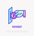 hand inserting coin in payment slot vector image