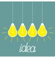 Hanging yellow light bulbs Idea concept vector image