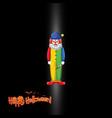 happy halloween logo with creepy clown vector image