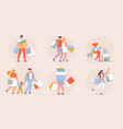 happy people shopping in a mall concept vector image