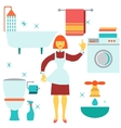 House work concept Women doing house work in vector image