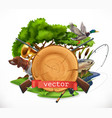 hunting and fishing 3d emblem vector image